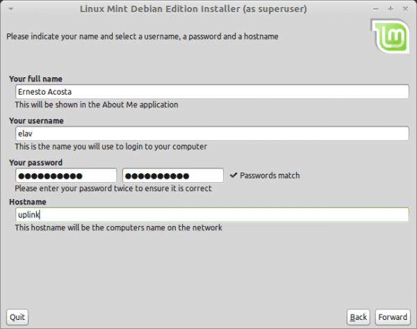 Paso 5: Configuración del usuario