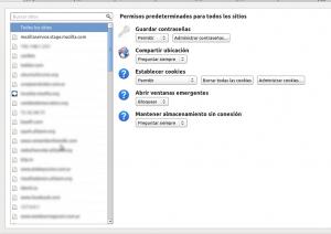 Administrador de permisos para sitios web en Firefox