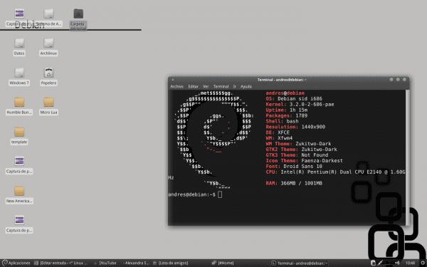 Debian Xfce con Compton