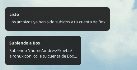 Notificación de Box