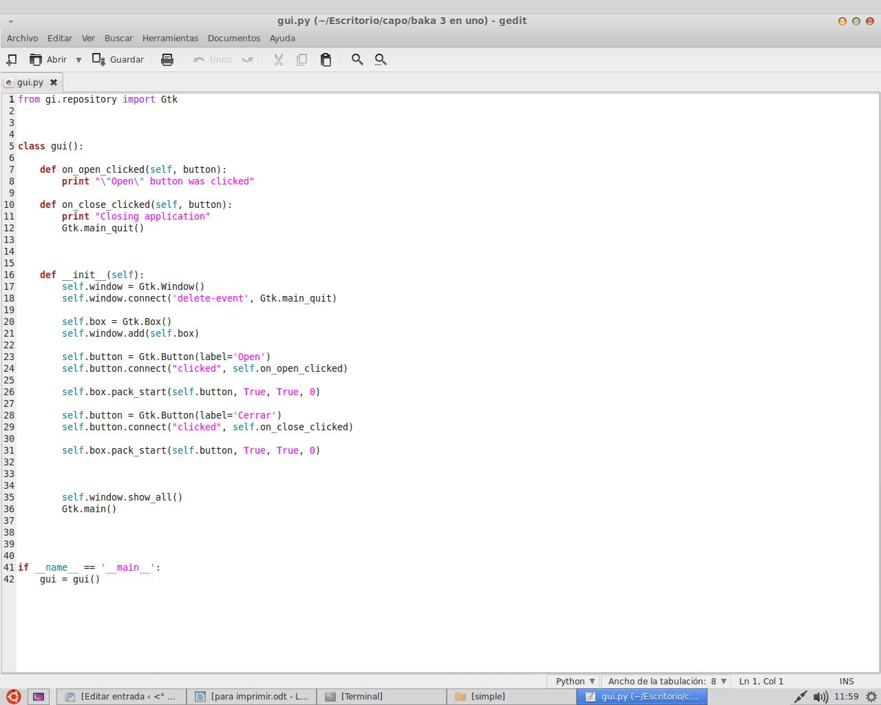 PyGTK 3: mini tutorial de GUI con Python + GTK+3