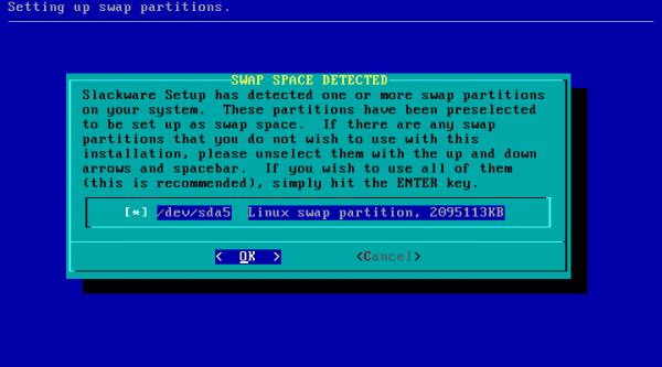 Slackware-7-swap-particion