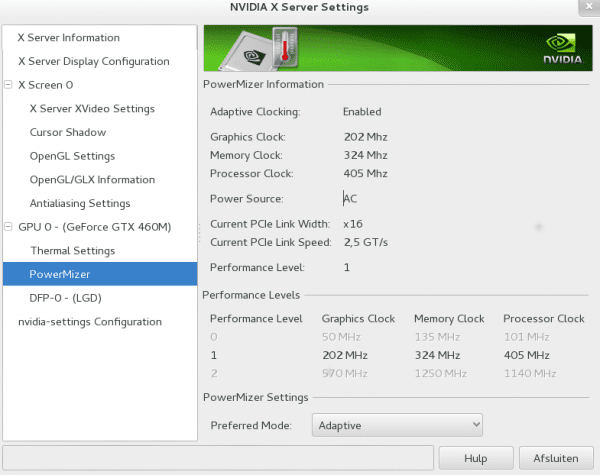nvidia-settings: pestaña para configurar powermizer