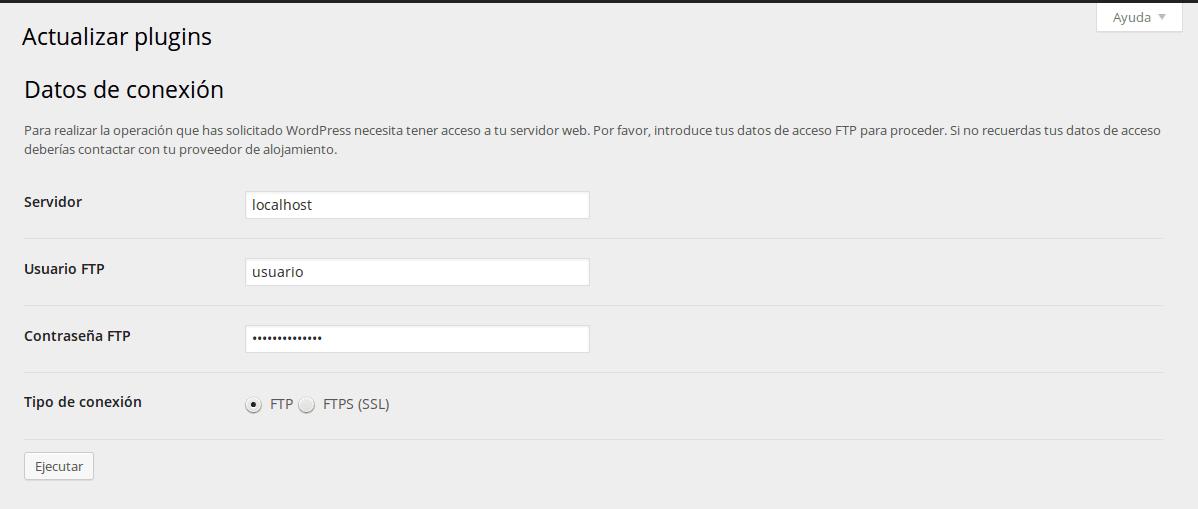 Wordpress te pide usuario y contraseña para actualizar? Solución