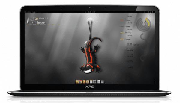 Gnome Ubuntu 13.10 Tema: Mumix Iconos: Yallow Conky Manager Docky
