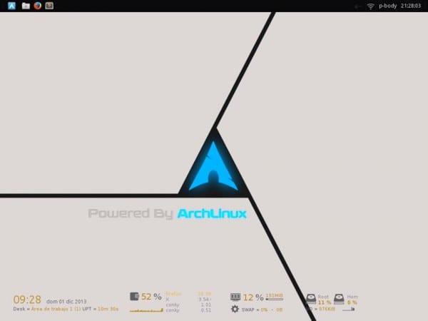 Arch linux + XFCE4 + Conky + Iconos ElementaryXFCE