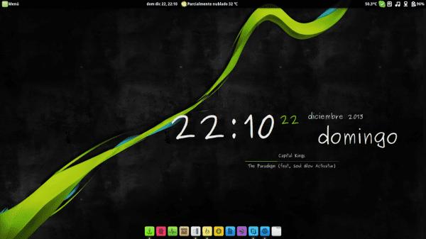 Linux mint 15 Entorno: cinnamon Tema: Tyr jord Iconos: Compass Conky: Gotham modificado Cooverglobus: eOS modificado y Docky