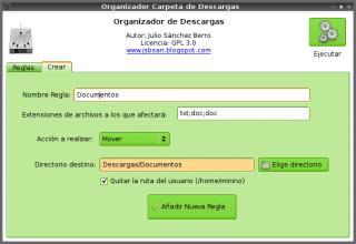 definiendo una nueva regla Organizador Carpeta de Descargas