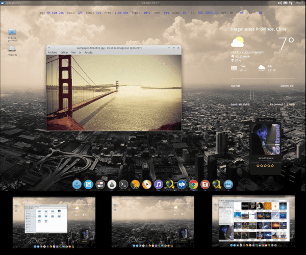 Tema GTK: Greybird (por defecto) Iconos: Elementary Xfce darker + Numix circle Plank: Transparent Conky: Horizontal + Conky google now Covergloobus: Ibex Reproductor de música: Gmusicbrowser Administrador de archivos: Thunar