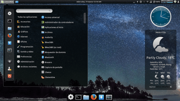OS: Linux Mint 16 Desktop: Cinnamon Theme: zoncolorDarkNight Icons: eOSX-Dark Dock: Cinnadock Desklets: Analog clock y Weather