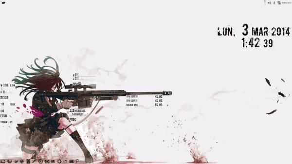 Distribucion: Xubuntu 13.04 Tema: Trevilla-White Iconos: AnyColorYouLike (mas acordes a la nueva fuente del GKrellM) Papel Tapiz: https://blog.desdelinux.net/wp-content/uploads/2014/03/anime-art-sniper-gun-shoot-wallpaper-.jpg (editado) Monitor de Sistema: GKrellM (perzonalizado nueva fuente)
