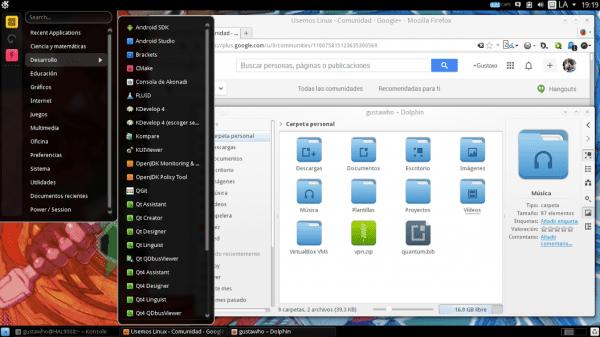 """KDE """"emulando"""" GNOME2. Tema de ventana: Oxygen Tema de color: Propio Tema de íconos: Compass KDE Tema de Firefox: Simple White Tipografías: Droid Sans + Oxygen Sans/Mono Lanzador de apps: Homerun Kicker"""