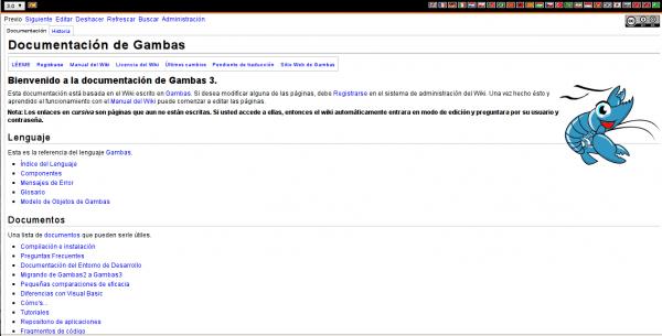 Página web de la documentación de gambas2 y gambas3