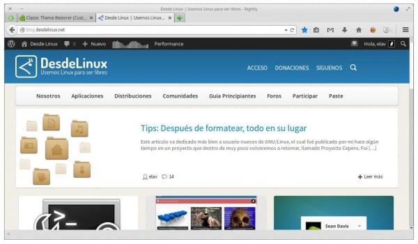 Interfaz clásica de Firefox
