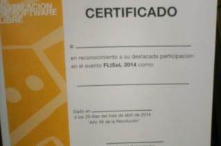 Certificados o diplomas del evento