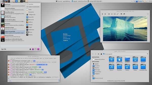 Sistema Operativo: Manjaro Linux (XFCE) Tema de Entorno XFCE: SimpleX-Blue Tema de Iconos: Nitrux Tema CoverGloobus: simple