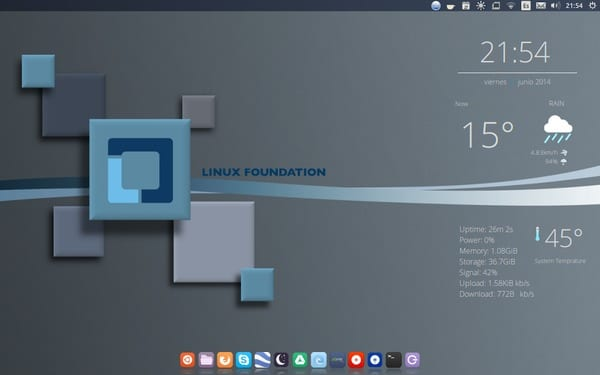 Ubuntu 14.04 Unity Iconos:Mate Tema:Mint-x-purple Dock:Cairo Conky:Made by me