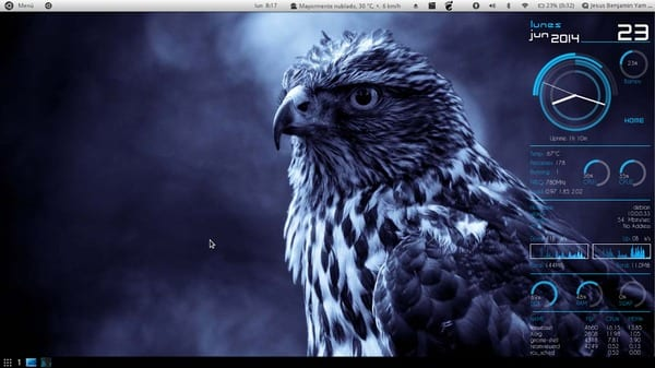 Debian wheezy 64 bits Gnome shell 3.4.2 tema linux Deepin. ConkyManager tema 4&2 Core Blue Iconos: Square-beam