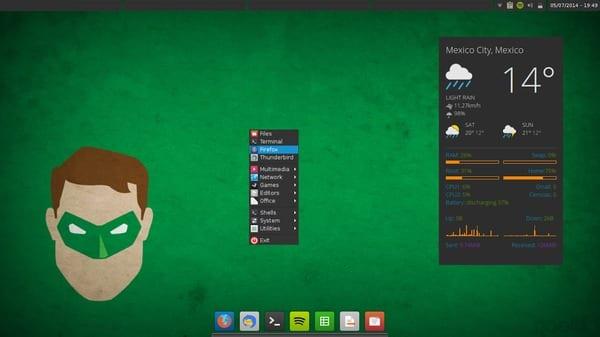 OS = Arch Linux WM=Openbox Tema = Numix-Archblue Iconos=Numix-Square Conky=Conky Now, con algunas cosas que yo añadí. tint2= la copié de manjaro-openbox