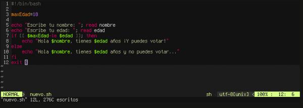 Código nuevo escrito en Vim
