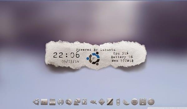 Distro: Lubuntu 14.04 Tema GTK & Openbox: Zoncolor Xtra-Birdy Tema de Iconos: Nouve Gnome Gray. Tema Conky: Type writer (modificado) Cairo dock