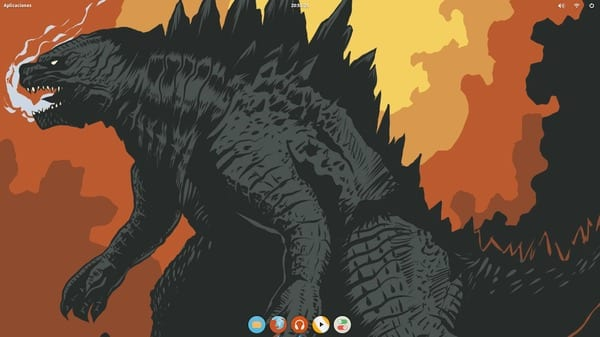 Elementary OS Freya Beta. Tema: elementary. Iconos: Numix Circle con inherit en el tema por defecto. Plank: Transparent LXDE (Modificado por mi). Wallpaper: king_of_monsters_by_bemannen02-d7nm01v.