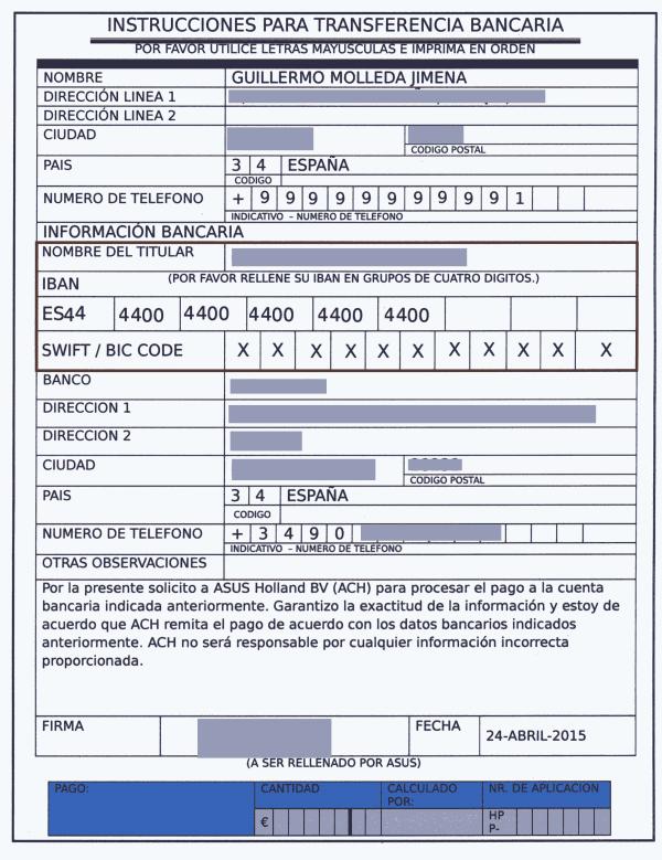 Formulario para la cuenta bancaria
