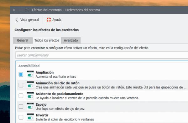 KDE Efectos