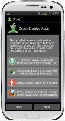 Orbot Aplicaciones