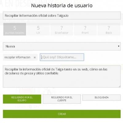 Taiga Historia de Usuario