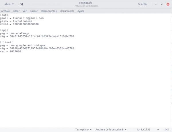 configuración whatsapp extractor