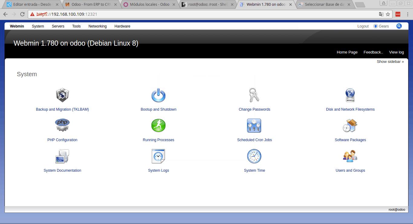 Webmin Turnkey Linux