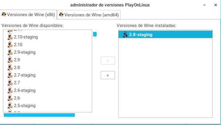 administrador de versiones de PlayOnLinux