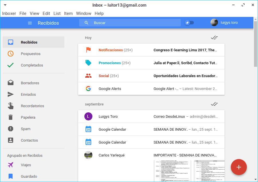 Cliente de Inbox para Linux