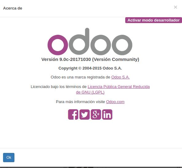 modo desarrollador en odoo 9