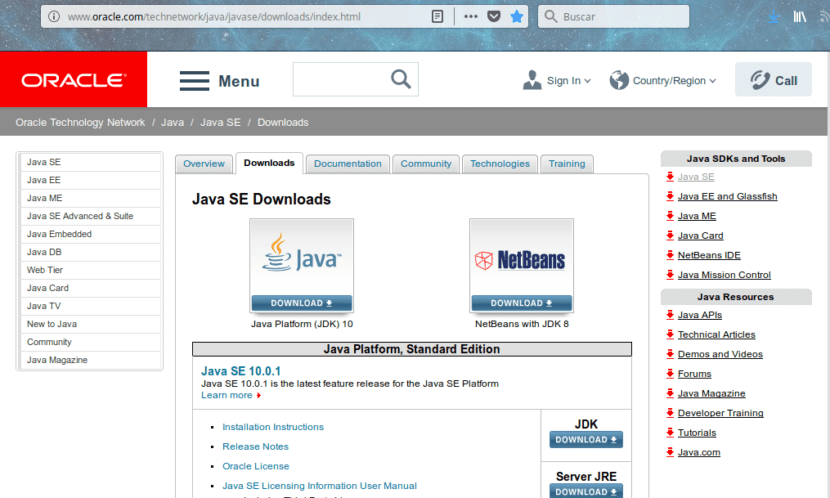 Descargar Java 10 de Oracle