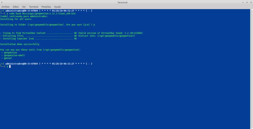 Instalación vía terminal de Genymotion