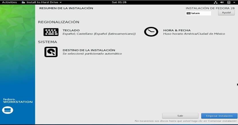 Instalacion de Fedora 28