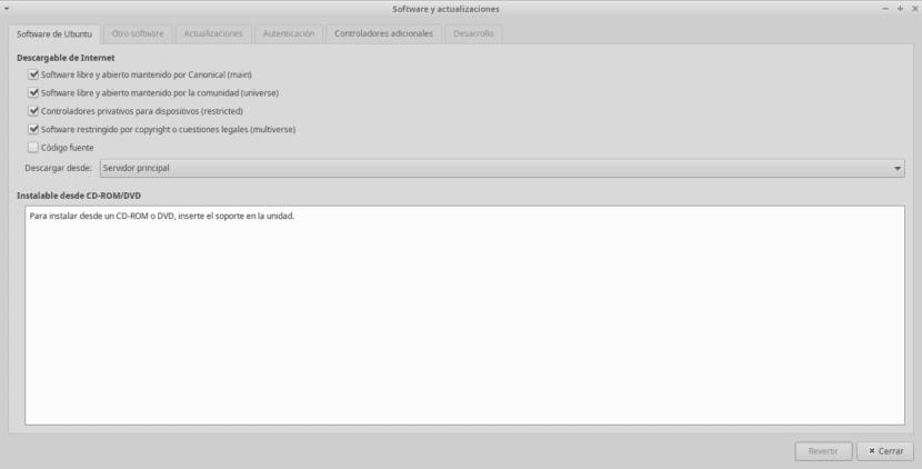 """Ventana de Aplicación """"Software y actualizaciones"""" de Ubuntu 18.04"""