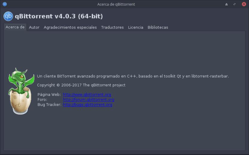 Acerca de qBittorrent V. 4.0.3