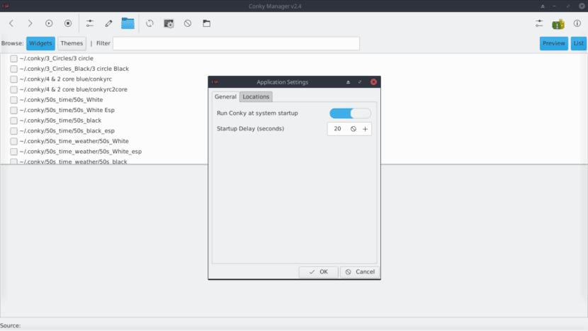Conky-Manager: Menu de Configuracion