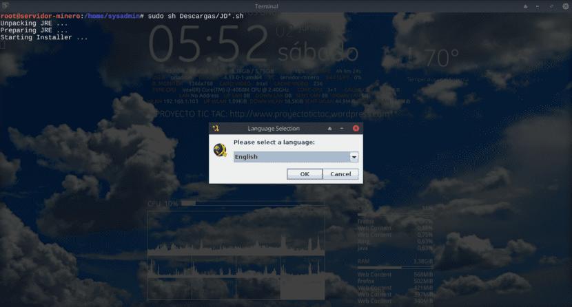 Instalación de JD2 vía archivo .sh - Paso 1