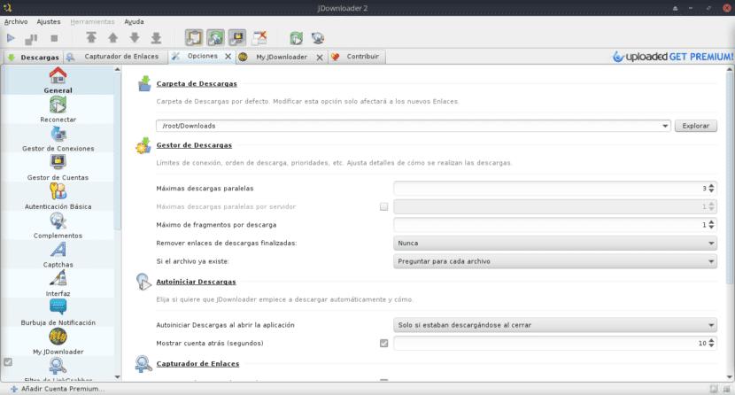 JD2: Seccion de Ajustes/Opciones