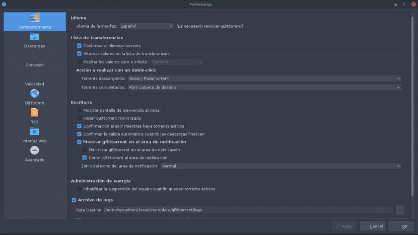 Preferencias de qBittorrent