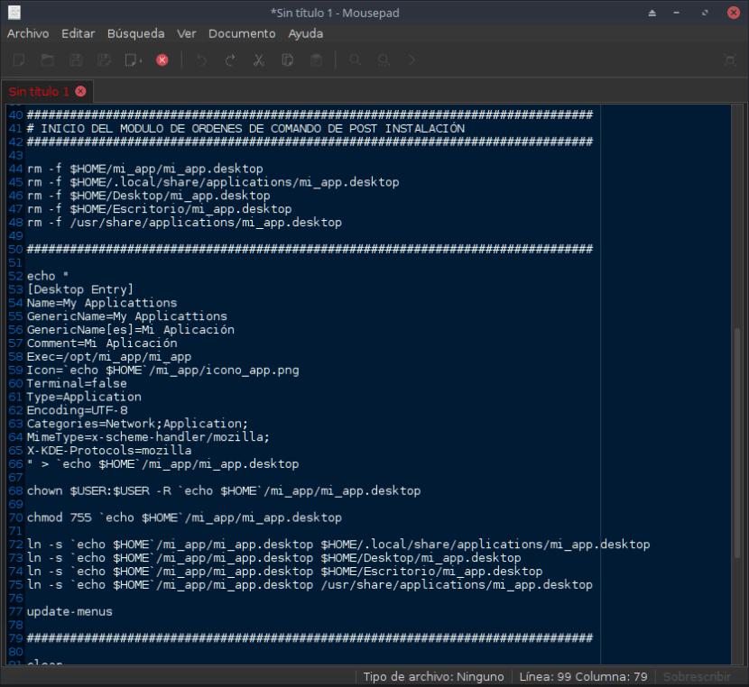 Contenido del Script en Mousepad