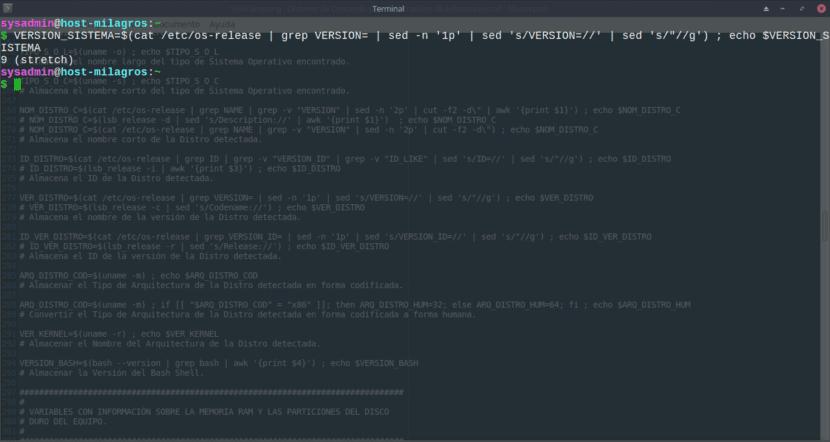 Ejemplos de Gestion de Variables de Datos sobre la Distro usada