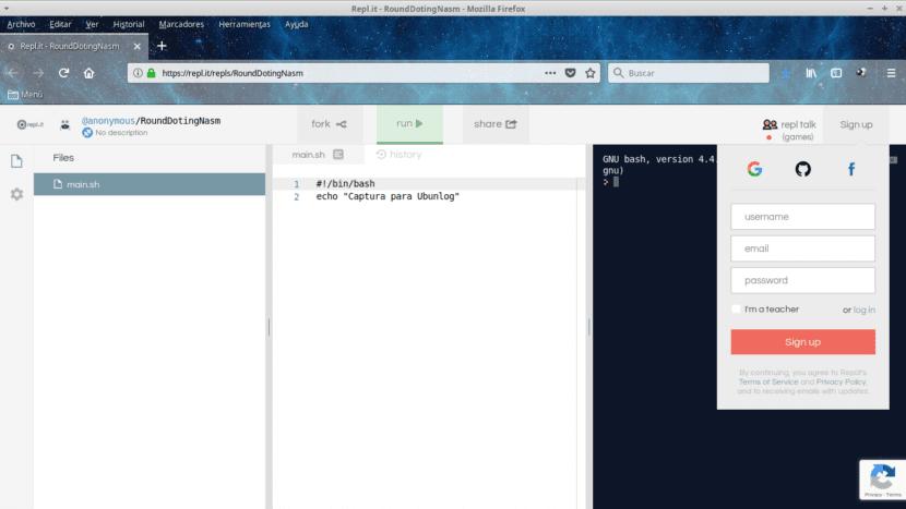 Repl.it Editor Compilador Bash en Línea