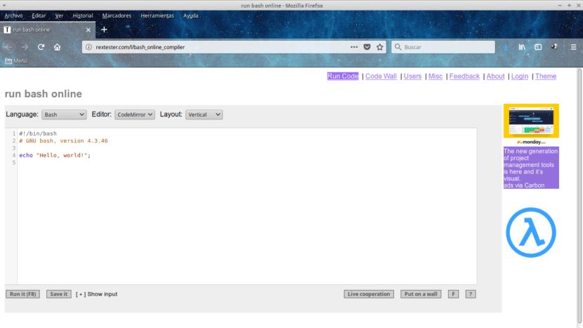 Rextester Editor Compilador Bash en Línea