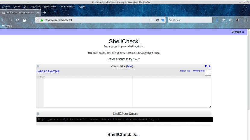 ShellCheck Editor Compilador Bash en Linea