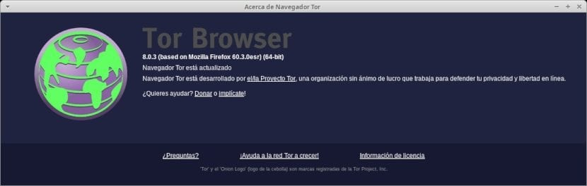 Tor Browser: Pantalla de Ayuda / Version